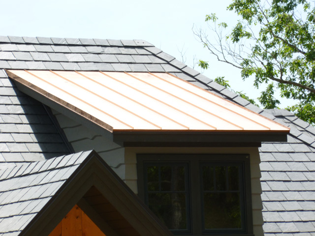Premiere roofing slate installation roofing products for for Copper standing seam roof